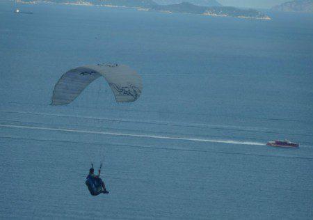 Hang gliding over Hong Kong and South China Sea