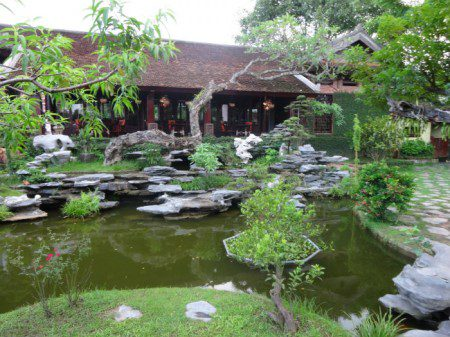 Voluntarism picnic at a Hanoi, Vietnam Asian garden