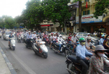 Voluntarism at work with traffic in Hanoi, Vietnam