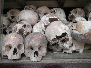 Pol Pot's killing fields in Choeung Ek, Cambodia, and government tyranny
