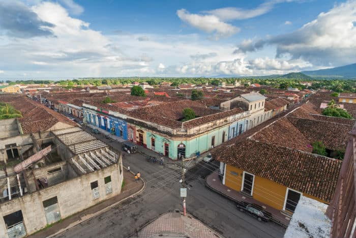 A crossroads in the old city of Granada, Nicaragua.