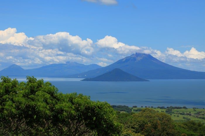 Volcanoes on the shore of Lake Managua in Nicaragua.
