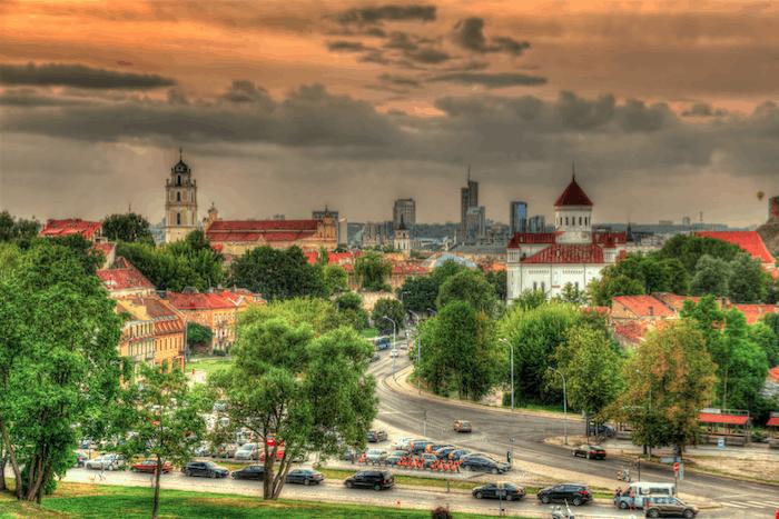 Evening view of Vilnius, Lithuania