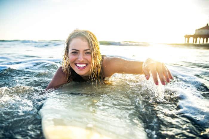 Australian woman surfing