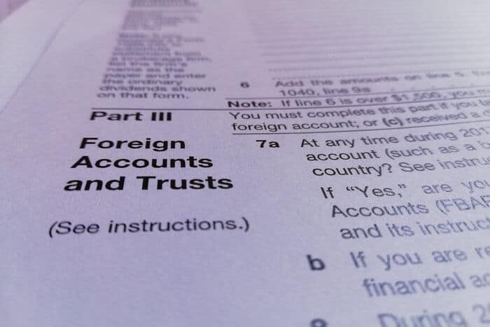 FBAR filing form