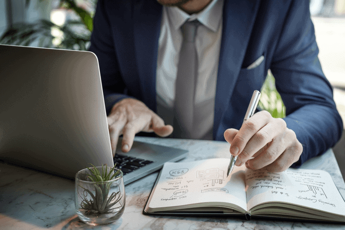 Businessman calculating pros and cons of renouncing