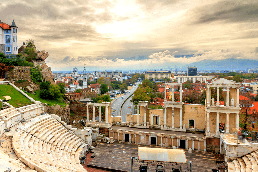 Plovdiv Bulgaria Roman Theater Skyline