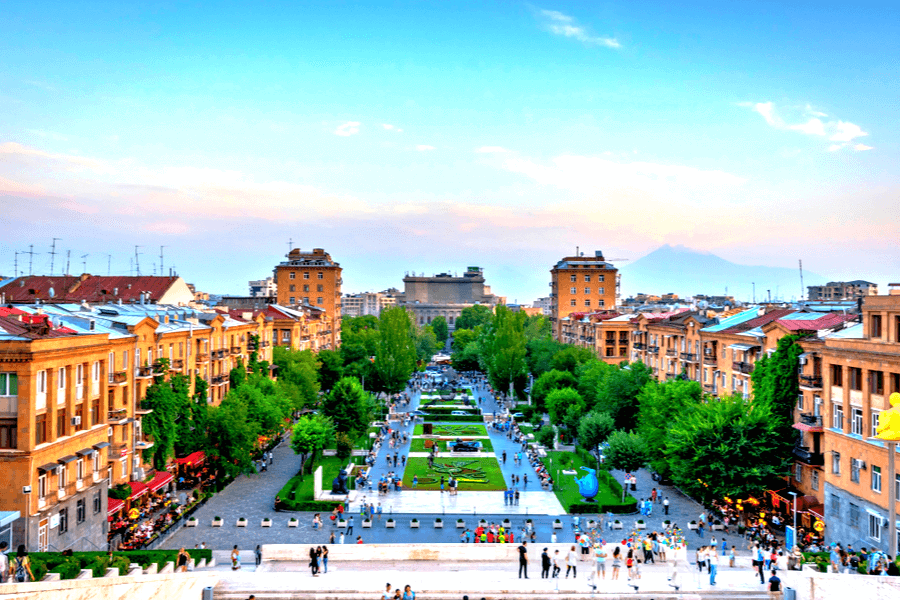 Bank in Armenia Tamanyan park Yerevan