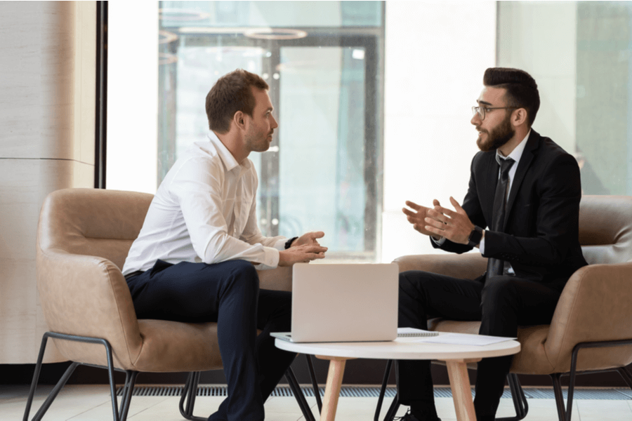 Business banker with priority banking client
