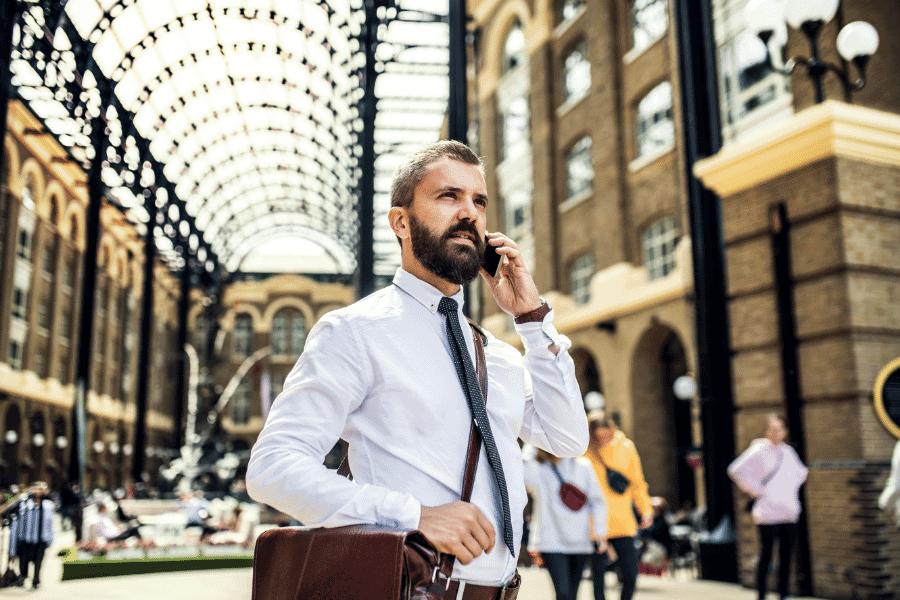 Businessman in London Train Station